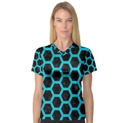 HEXAGON2 BLACK MARBLE & TURQUOISE COLORED PENCIL (R) V-Neck Sport Mesh Tee