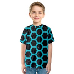 HEXAGON2 BLACK MARBLE & TURQUOISE COLORED PENCIL (R) Kids  Sport Mesh Tee
