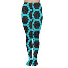 HEXAGON2 BLACK MARBLE & TURQUOISE COLORED PENCIL (R) Women s Tights