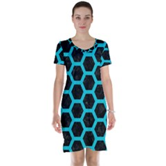 HEXAGON2 BLACK MARBLE & TURQUOISE COLORED PENCIL (R) Short Sleeve Nightdress