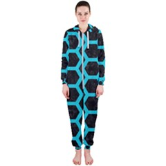 HEXAGON2 BLACK MARBLE & TURQUOISE COLORED PENCIL (R) Hooded Jumpsuit (Ladies)