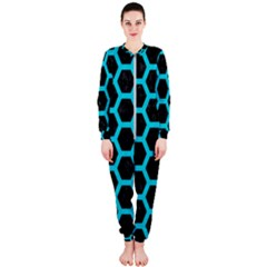 HEXAGON2 BLACK MARBLE & TURQUOISE COLORED PENCIL (R) OnePiece Jumpsuit (Ladies)
