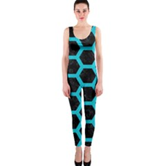 HEXAGON2 BLACK MARBLE & TURQUOISE COLORED PENCIL (R) OnePiece Catsuit
