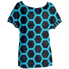 HEXAGON2 BLACK MARBLE & TURQUOISE COLORED PENCIL (R) Women s Oversized Tee