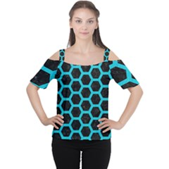 HEXAGON2 BLACK MARBLE & TURQUOISE COLORED PENCIL (R) Cutout Shoulder Tee