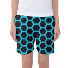 HEXAGON2 BLACK MARBLE & TURQUOISE COLORED PENCIL (R) Women s Basketball Shorts