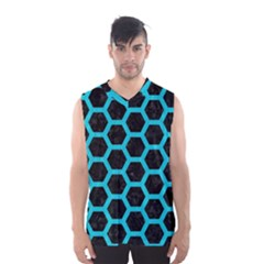 HEXAGON2 BLACK MARBLE & TURQUOISE COLORED PENCIL (R) Men s Basketball Tank Top