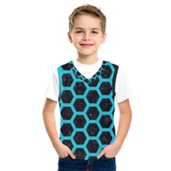 HEXAGON2 BLACK MARBLE & TURQUOISE COLORED PENCIL (R) Kids  SportsWear
