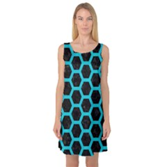 HEXAGON2 BLACK MARBLE & TURQUOISE COLORED PENCIL (R) Sleeveless Satin Nightdress