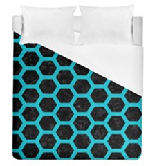 HEXAGON2 BLACK MARBLE & TURQUOISE COLORED PENCIL (R) Duvet Cover (Queen Size)