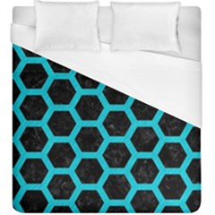 HEXAGON2 BLACK MARBLE & TURQUOISE COLORED PENCIL (R) Duvet Cover (King Size)