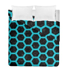 HEXAGON2 BLACK MARBLE & TURQUOISE COLORED PENCIL (R) Duvet Cover Double Side (Full/ Double Size)