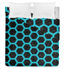 HEXAGON2 BLACK MARBLE & TURQUOISE COLORED PENCIL (R) Duvet Cover Double Side (Queen Size)