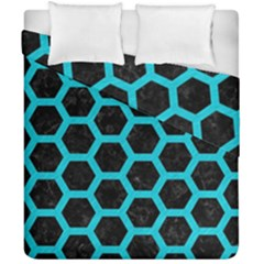 Hexagon2 Black Marble & Turquoise Colored Pencil (r) Duvet Cover Double Side (california King Size) by trendistuff
