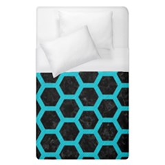 HEXAGON2 BLACK MARBLE & TURQUOISE COLORED PENCIL (R) Duvet Cover (Single Size)