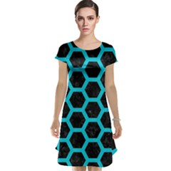 HEXAGON2 BLACK MARBLE & TURQUOISE COLORED PENCIL (R) Cap Sleeve Nightdress