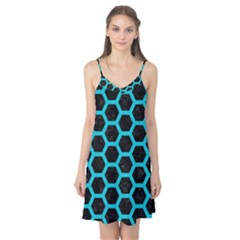 HEXAGON2 BLACK MARBLE & TURQUOISE COLORED PENCIL (R) Camis Nightgown