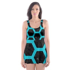 HEXAGON2 BLACK MARBLE & TURQUOISE COLORED PENCIL (R) Skater Dress Swimsuit