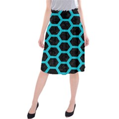 HEXAGON2 BLACK MARBLE & TURQUOISE COLORED PENCIL (R) Midi Beach Skirt