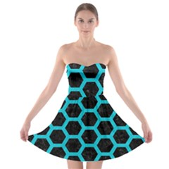 HEXAGON2 BLACK MARBLE & TURQUOISE COLORED PENCIL (R) Strapless Bra Top Dress