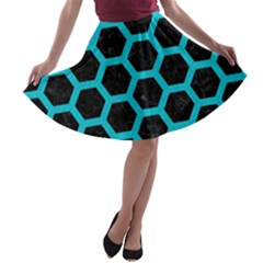 HEXAGON2 BLACK MARBLE & TURQUOISE COLORED PENCIL (R) A-line Skater Skirt