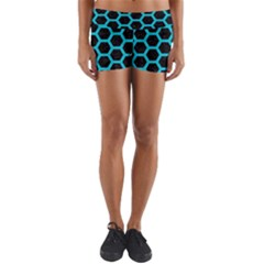 HEXAGON2 BLACK MARBLE & TURQUOISE COLORED PENCIL (R) Yoga Shorts