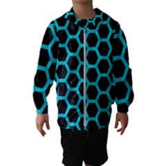 HEXAGON2 BLACK MARBLE & TURQUOISE COLORED PENCIL (R) Hooded Wind Breaker (Kids)