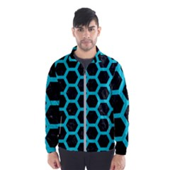 HEXAGON2 BLACK MARBLE & TURQUOISE COLORED PENCIL (R) Wind Breaker (Men)