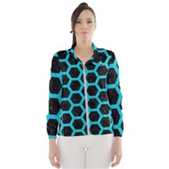 HEXAGON2 BLACK MARBLE & TURQUOISE COLORED PENCIL (R) Wind Breaker (Women)