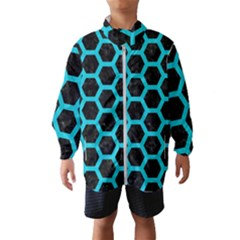 HEXAGON2 BLACK MARBLE & TURQUOISE COLORED PENCIL (R) Wind Breaker (Kids)