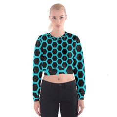 HEXAGON2 BLACK MARBLE & TURQUOISE COLORED PENCIL (R) Cropped Sweatshirt