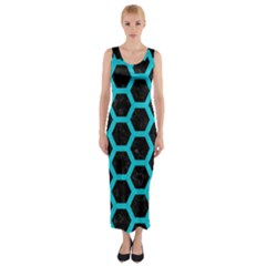 HEXAGON2 BLACK MARBLE & TURQUOISE COLORED PENCIL (R) Fitted Maxi Dress