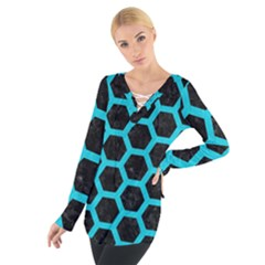HEXAGON2 BLACK MARBLE & TURQUOISE COLORED PENCIL (R) Tie Up Tee
