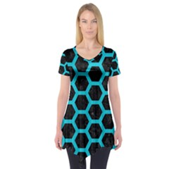 HEXAGON2 BLACK MARBLE & TURQUOISE COLORED PENCIL (R) Short Sleeve Tunic