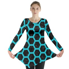 HEXAGON2 BLACK MARBLE & TURQUOISE COLORED PENCIL (R) Long Sleeve Tunic
