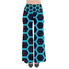 HEXAGON2 BLACK MARBLE & TURQUOISE COLORED PENCIL (R) Pants