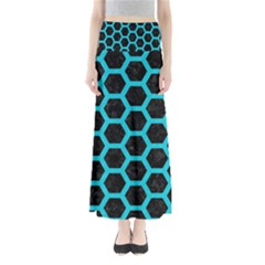 HEXAGON2 BLACK MARBLE & TURQUOISE COLORED PENCIL (R) Full Length Maxi Skirt