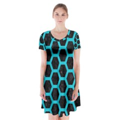 HEXAGON2 BLACK MARBLE & TURQUOISE COLORED PENCIL (R) Short Sleeve V-neck Flare Dress
