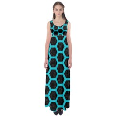 HEXAGON2 BLACK MARBLE & TURQUOISE COLORED PENCIL (R) Empire Waist Maxi Dress