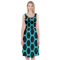 HEXAGON2 BLACK MARBLE & TURQUOISE COLORED PENCIL (R) Midi Sleeveless Dress