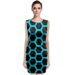 HEXAGON2 BLACK MARBLE & TURQUOISE COLORED PENCIL (R) Classic Sleeveless Midi Dress