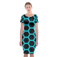 HEXAGON2 BLACK MARBLE & TURQUOISE COLORED PENCIL (R) Classic Short Sleeve Midi Dress
