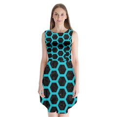 HEXAGON2 BLACK MARBLE & TURQUOISE COLORED PENCIL (R) Sleeveless Chiffon Dress