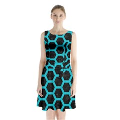 HEXAGON2 BLACK MARBLE & TURQUOISE COLORED PENCIL (R) Sleeveless Waist Tie Chiffon Dress