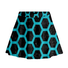 HEXAGON2 BLACK MARBLE & TURQUOISE COLORED PENCIL (R) Mini Flare Skirt