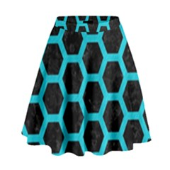 HEXAGON2 BLACK MARBLE & TURQUOISE COLORED PENCIL (R) High Waist Skirt