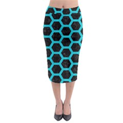 HEXAGON2 BLACK MARBLE & TURQUOISE COLORED PENCIL (R) Midi Pencil Skirt