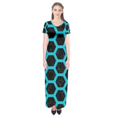 HEXAGON2 BLACK MARBLE & TURQUOISE COLORED PENCIL (R) Short Sleeve Maxi Dress