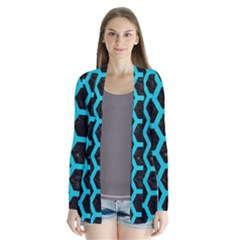 HEXAGON2 BLACK MARBLE & TURQUOISE COLORED PENCIL (R) Drape Collar Cardigan