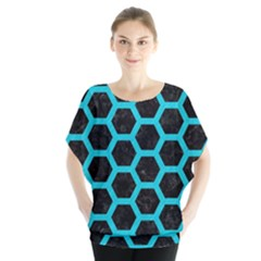 HEXAGON2 BLACK MARBLE & TURQUOISE COLORED PENCIL (R) Blouse